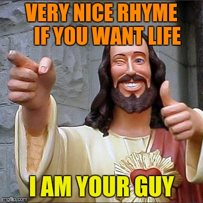 VERY NICE RHYME   IF YOU WANT LIFE I AM YOUR GUY | made w/ Imgflip meme maker