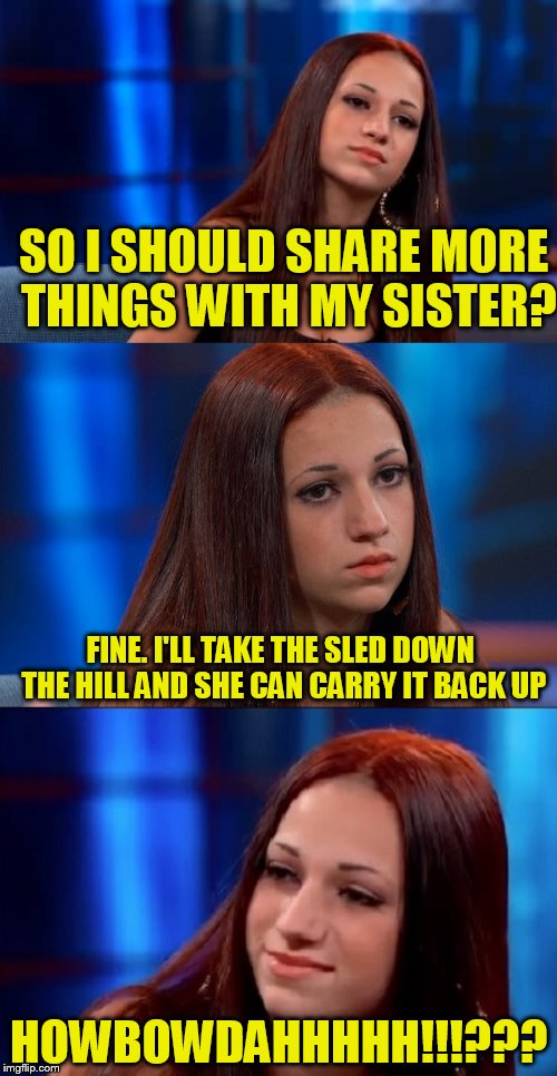 SO I SHOULD SHARE MORE THINGS WITH MY SISTER? HOWBOWDAHHHHH!!!??? FINE. I'LL TAKE THE SLED DOWN THE HILL AND SHE CAN CARRY IT BACK UP | image tagged in bad pun danielle | made w/ Imgflip meme maker