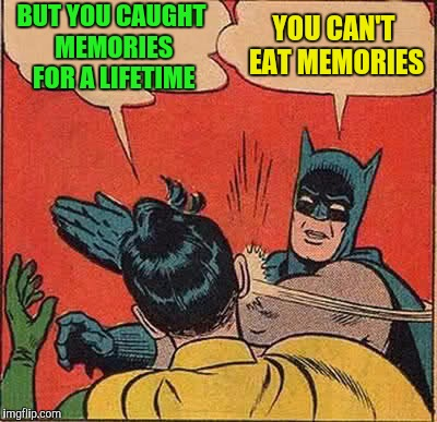 Batman Slapping Robin Meme | BUT YOU CAUGHT MEMORIES FOR A LIFETIME YOU CAN'T EAT MEMORIES | image tagged in memes,batman slapping robin | made w/ Imgflip meme maker