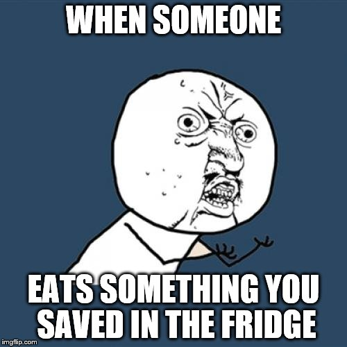 Y U No Meme | WHEN SOMEONE EATS SOMETHING YOU SAVED IN THE FRIDGE | image tagged in memes,y u no | made w/ Imgflip meme maker