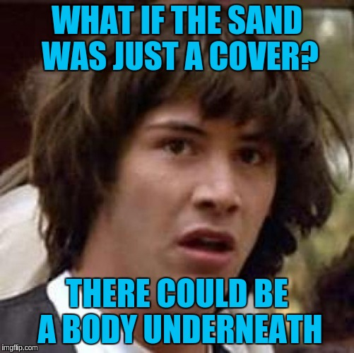 Conspiracy Keanu Meme | WHAT IF THE SAND WAS JUST A COVER? THERE COULD BE A BODY UNDERNEATH | image tagged in memes,conspiracy keanu | made w/ Imgflip meme maker