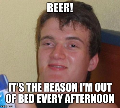 10 Guy Meme | BEER! IT'S THE REASON I'M OUT OF BED EVERY AFTERNOON | image tagged in memes,10 guy | made w/ Imgflip meme maker