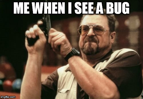 So true | ME WHEN I SEE A BUG | image tagged in memes,am i the only one around here | made w/ Imgflip meme maker