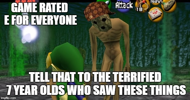 Ocarina Of Time Redeads (You Are Lying If Their Screams Didn't Terrify You As A Child) | GAME RATED E FOR EVERYONE TELL THAT TO THE TERRIFIED 7 YEAR OLDS WHO SAW THESE THINGS | image tagged in legend of zelda,scumbag,redeads,turn back time | made w/ Imgflip meme maker