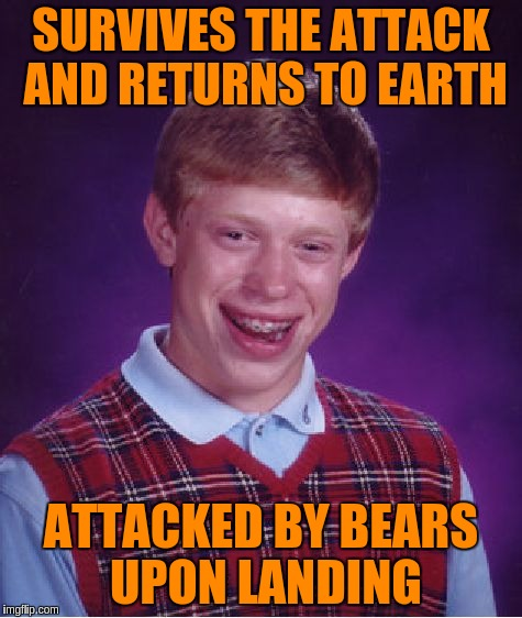 Bad Luck Brian Meme | SURVIVES THE ATTACK AND RETURNS TO EARTH ATTACKED BY BEARS UPON LANDING | image tagged in memes,bad luck brian | made w/ Imgflip meme maker