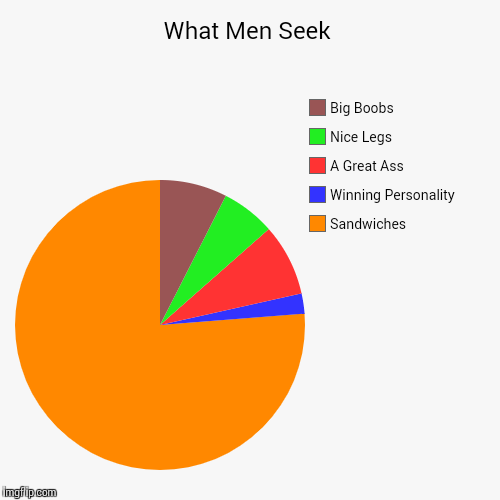 What Men Seek | What Men Seek | Sandwiches, Winning Personality, A Great Ass, Nice Legs, Big Boobs | image tagged in funny,pie charts,relationships,dating | made w/ Imgflip pie chart maker
