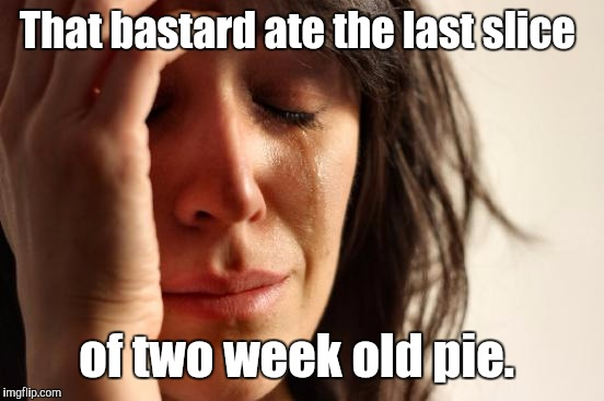 First World Problems Meme | That bastard ate the last slice of two week old pie. | image tagged in memes,first world problems | made w/ Imgflip meme maker