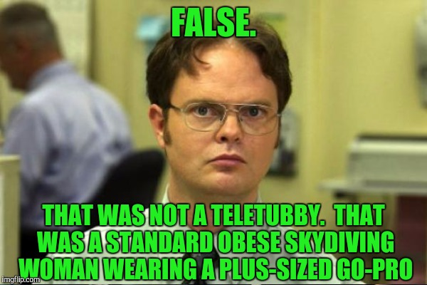 FALSE. THAT WAS NOT A TELETUBBY.  THAT WAS A STANDARD OBESE SKYDIVING WOMAN WEARING A PLUS-SIZED GO-PRO | made w/ Imgflip meme maker