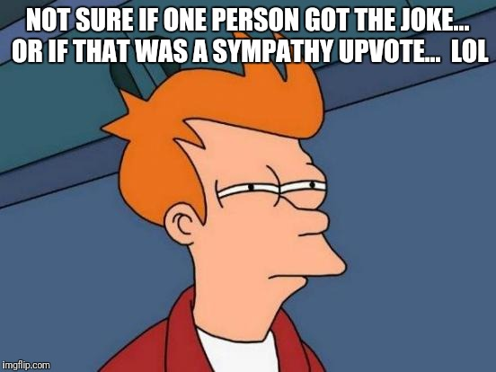 Futurama Fry Meme | NOT SURE IF ONE PERSON GOT THE JOKE... OR IF THAT WAS A SYMPATHY UPVOTE...  LOL | image tagged in memes,futurama fry | made w/ Imgflip meme maker