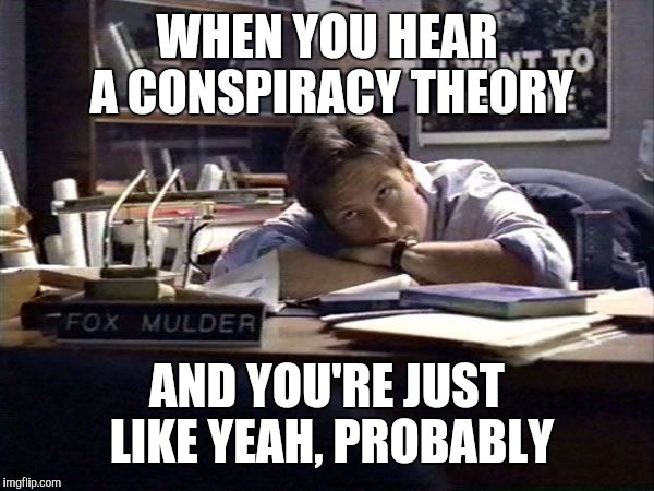 When you hear a conspiracy theory | WHEN YOU HEAR A CONSPIRACY THEORY AND YOU'RE JUST LIKE YEAH, PROBABLY | image tagged in mulder i want to believe | made w/ Imgflip meme maker