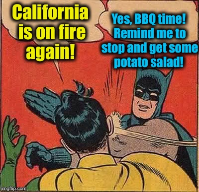 Batman Slapping Robin Meme | California is on fire again! Yes, BBQ time! Remind me to stop and get some potato salad! | image tagged in memes,batman slapping robin,evilmandoevil,funny | made w/ Imgflip meme maker