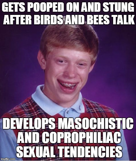 Bad Luck Brian Meme | GETS POOPED ON AND STUNG AFTER BIRDS AND BEES TALK DEVELOPS MASOCHISTIC AND COPROPHILIAC SEXUAL TENDENCIES | image tagged in memes,bad luck brian | made w/ Imgflip meme maker