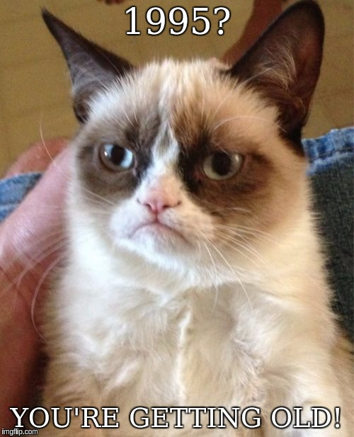 Grumpy Cat Meme | 1995? YOU'RE GETTING OLD! | image tagged in memes,grumpy cat | made w/ Imgflip meme maker