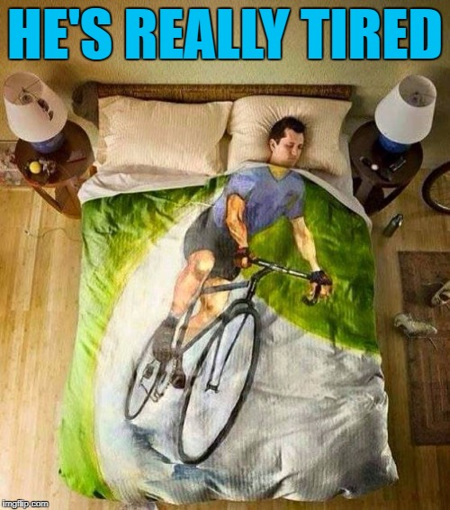 You can't handle the sleep :) | HE'S REALLY TIRED | image tagged in bicycle,memes,sleeping | made w/ Imgflip meme maker