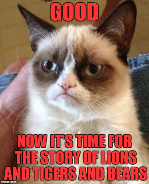 Grumpy Cat Meme | GOOD NOW IT'S TIME FOR THE STORY OF LIONS AND TIGERS AND BEARS | image tagged in memes,grumpy cat | made w/ Imgflip meme maker