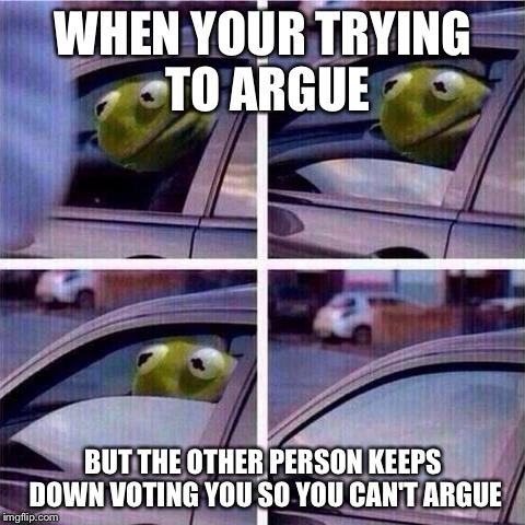I Upvote in all arguements....... To keep the arguement going! LOL | WHEN YOUR TRYING TO ARGUE BUT THE OTHER PERSON KEEPS DOWN VOTING YOU SO YOU CAN'T ARGUE | image tagged in kermit window roll up,memes,funny,animals,kermit the frog | made w/ Imgflip meme maker