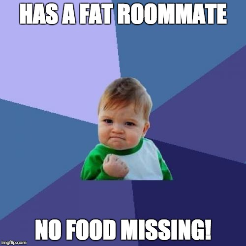 Success Kid Meme | HAS A FAT ROOMMATE NO FOOD MISSING! | image tagged in memes,success kid | made w/ Imgflip meme maker