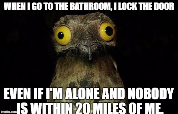 Weird Stuff I Do Potoo Meme | WHEN I GO TO THE BATHROOM, I LOCK THE DOOR EVEN IF I'M ALONE AND NOBODY IS WITHIN 20 MILES OF ME. | image tagged in memes,weird stuff i do potoo | made w/ Imgflip meme maker