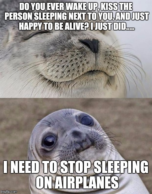 Short Satisfaction VS Truth | DO YOU EVER WAKE UP, KISS THE PERSON SLEEPING NEXT TO YOU, AND JUST HAPPY TO BE ALIVE? I JUST DID..... I NEED TO STOP SLEEPING ON AIRPLANES | image tagged in memes,short satisfaction vs truth | made w/ Imgflip meme maker