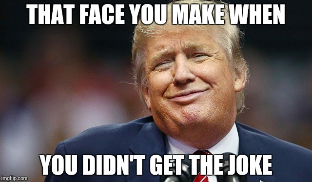 Trump Oopsie | THAT FACE YOU MAKE WHEN YOU DIDN'T GET THE JOKE | image tagged in trump oopsie | made w/ Imgflip meme maker