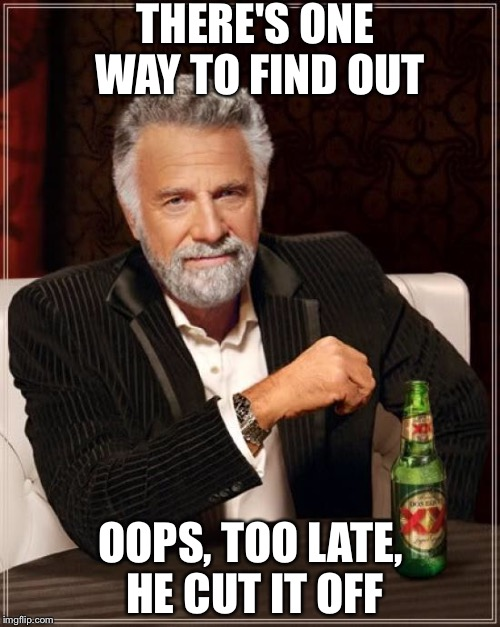 The Most Interesting Man In The World Meme | THERE'S ONE WAY TO FIND OUT OOPS, TOO LATE, HE CUT IT OFF | image tagged in memes,the most interesting man in the world | made w/ Imgflip meme maker