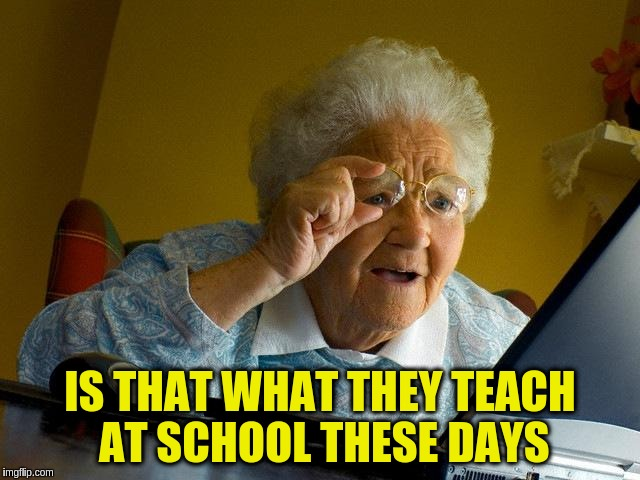 Grandma Finds The Internet Meme | IS THAT WHAT THEY TEACH AT SCHOOL THESE DAYS | image tagged in memes,grandma finds the internet | made w/ Imgflip meme maker