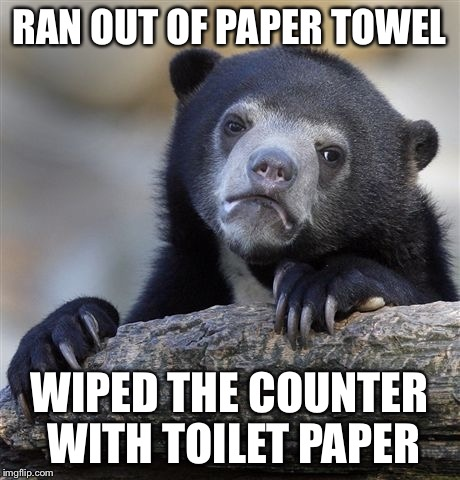 Confession Bear Meme | RAN OUT OF PAPER TOWEL WIPED THE COUNTER WITH TOILET PAPER | image tagged in memes,confession bear | made w/ Imgflip meme maker