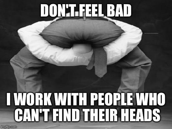 DON'T FEEL BAD I WORK WITH PEOPLE WHO CAN'T FIND THEIR HEADS | made w/ Imgflip meme maker