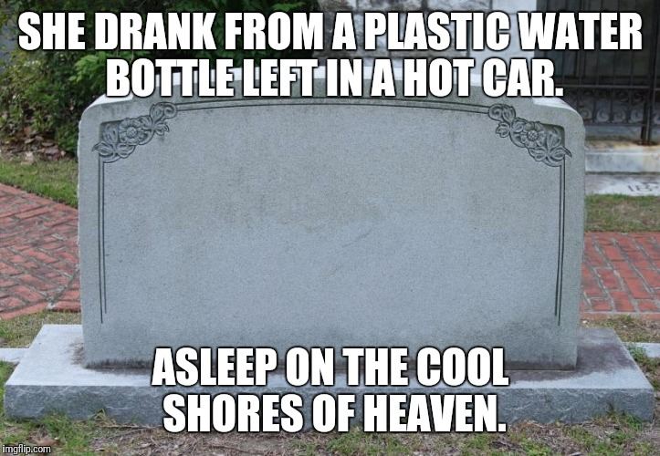 Gravestone | SHE DRANK FROM A PLASTIC WATER BOTTLE LEFT IN A HOT CAR. ASLEEP ON THE COOL SHORES OF HEAVEN. | image tagged in gravestone | made w/ Imgflip meme maker