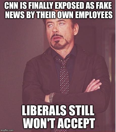 Face You Make Robert Downey Jr Meme | CNN IS FINALLY EXPOSED AS FAKE NEWS BY THEIR OWN EMPLOYEES LIBERALS STILL WON'T ACCEPT | image tagged in memes,face you make robert downey jr | made w/ Imgflip meme maker