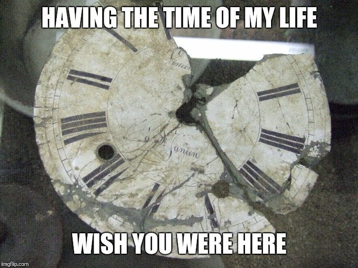 Memes | HAVING THE TIME OF MY LIFE WISH YOU WERE HERE | image tagged in memes | made w/ Imgflip meme maker