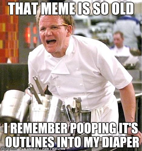 When someone copy-and-pasted an existing meme… | THAT MEME IS SO OLD I REMEMBER POOPING IT'S OUTLINES INTO MY DIAPER | image tagged in memes,chef gordon ramsay,funny,old,repost | made w/ Imgflip meme maker