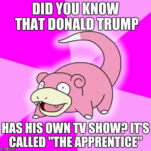 "Slowpoke Meme | DID YOU KNOW THAT DONALD TRUMP HAS HIS OWN TV SHOW? IT'S CALLED ""THE APPRENTICE"" 