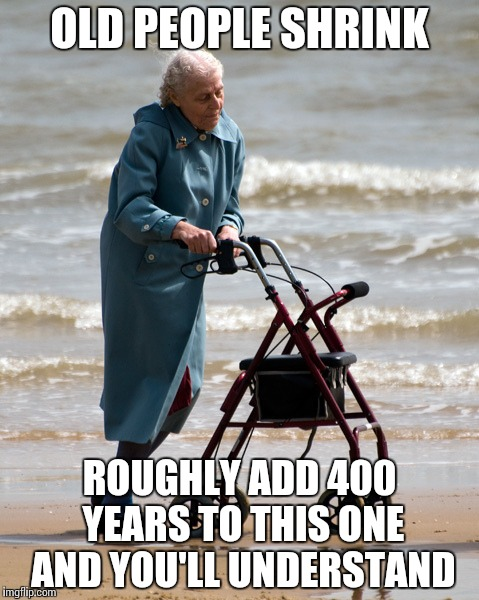 OLD PEOPLE SHRINK ROUGHLY ADD 400 YEARS TO THIS ONE AND YOU'LL UNDERSTAND | image tagged in old lady on beach | made w/ Imgflip meme maker