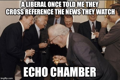 A purveyor of information will make a claim, which many like-minded people then repeat, overhear, and repeat again  | A LIBERAL ONCE TOLD ME THEY CROSS REFERENCE THE NEWS THEY WATCH ECHO CHAMBER | image tagged in memes,laughing men in suits | made w/ Imgflip meme maker