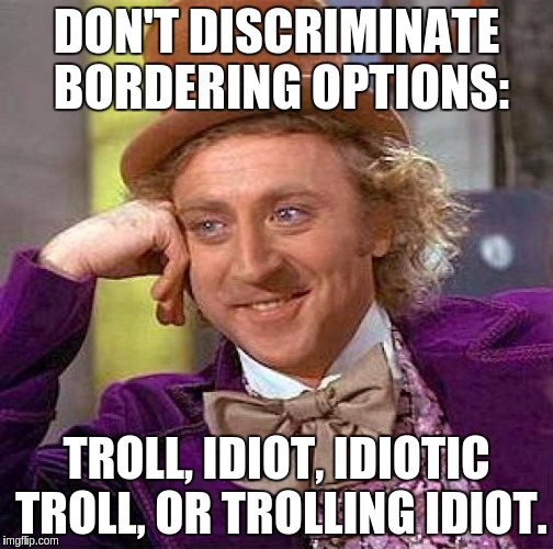 Creepy Condescending Wonka Meme | DON'T DISCRIMINATE BORDERING OPTIONS: TROLL, IDIOT, IDIOTIC TROLL, OR TROLLING IDIOT. | image tagged in memes,creepy condescending wonka | made w/ Imgflip meme maker
