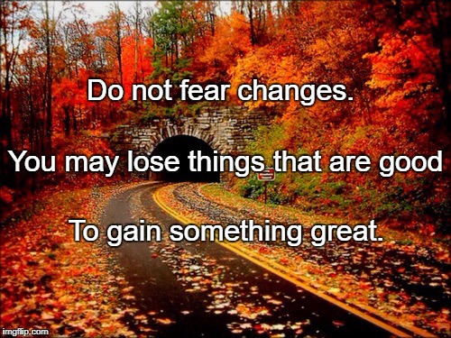 Do not fear changes. To gain something great. You may lose things that are good | image tagged in autumn road | made w/ Imgflip meme maker
