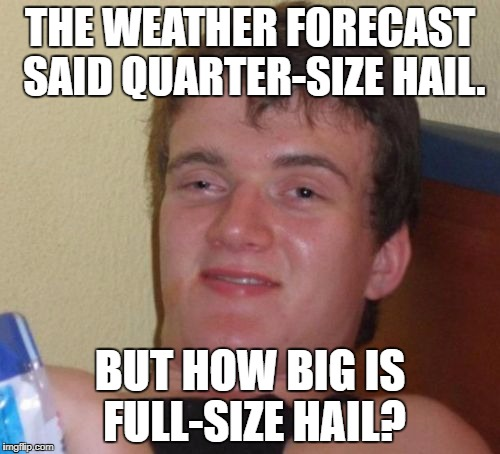 10 Guy Meme | THE WEATHER FORECAST SAID QUARTER-SIZE HAIL. BUT HOW BIG IS FULL-SIZE HAIL? | image tagged in memes,10 guy | made w/ Imgflip meme maker