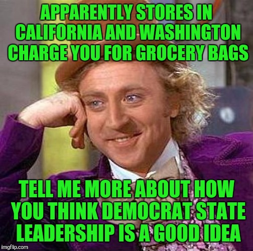 Creepy Condescending Wonka Meme | APPARENTLY STORES IN CALIFORNIA AND WASHINGTON CHARGE YOU FOR GROCERY BAGS TELL ME MORE ABOUT HOW YOU THINK DEMOCRAT STATE LEADERSHIP IS A G | image tagged in memes,creepy condescending wonka | made w/ Imgflip meme maker