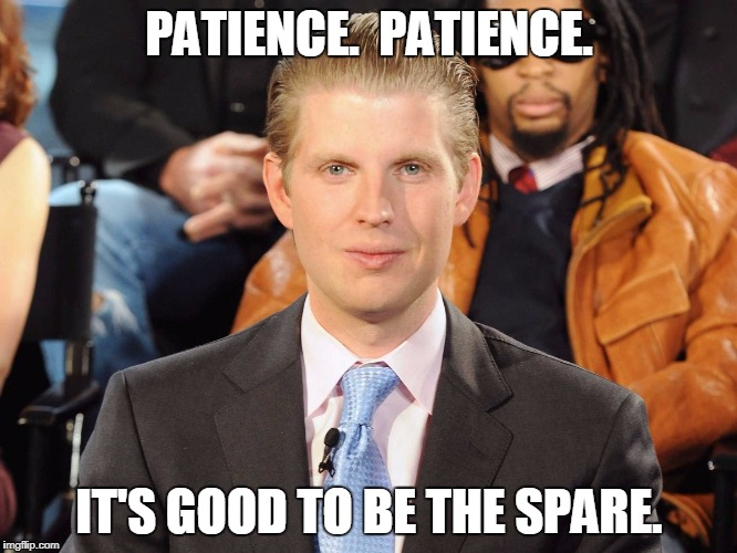 Good to be the Spare | PATIENCE.  PATIENCE. IT'S GOOD TO BE THE SPARE. | image tagged in eric trump,criminal | made w/ Imgflip meme maker
