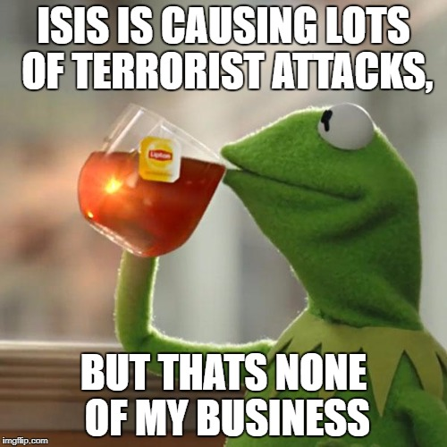 But Thats None Of My Business Meme | ISIS IS CAUSING LOTS OF TERRORIST ATTACKS, BUT THATS NONE OF MY BUSINESS | image tagged in memes,but thats none of my business,kermit the frog | made w/ Imgflip meme maker
