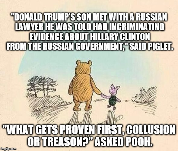 "Pooh and Piglet | ""DONALD TRUMP'S SON MET WITH A RUSSIAN LAWYER HE WAS TOLD HAD INCRIMINATING EVIDENCE ABOUT HILLARY CLINTON FROM THE RUSSIAN GOVERNMENT,"" SAI 