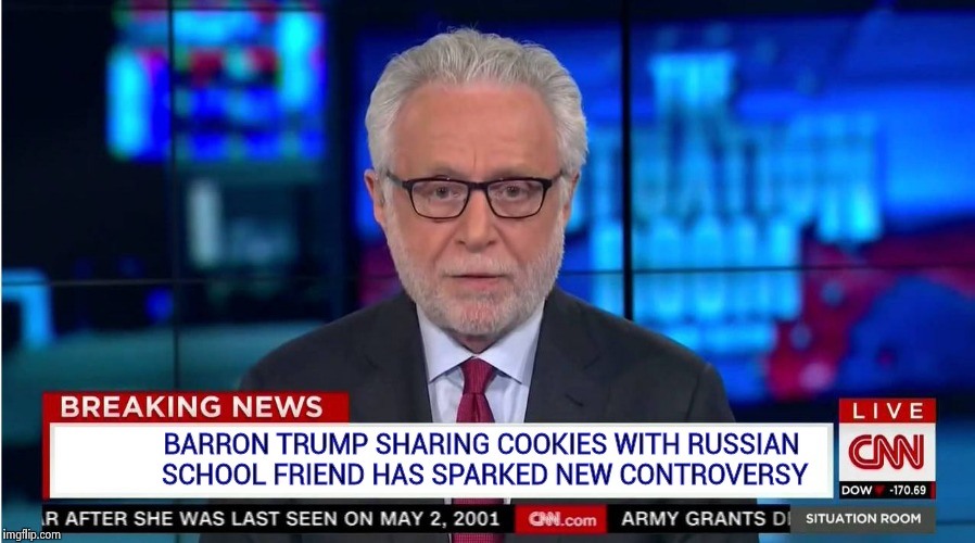 Coward News Network : Go ahead , threaten more children | BARRON TRUMP SHARING COOKIES WITH RUSSIAN SCHOOL FRIEND HAS SPARKED NEW CONTROVERSY | image tagged in cnn wolf of fake news fanfiction,coward,news,network | made w/ Imgflip meme maker