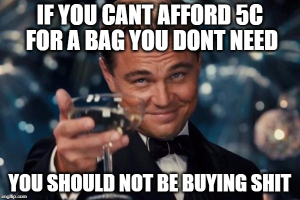 Leonardo Dicaprio Cheers Meme | IF YOU CANT AFFORD 5C FOR A BAG YOU DONT NEED YOU SHOULD NOT BE BUYING SHIT | image tagged in memes,leonardo dicaprio cheers | made w/ Imgflip meme maker