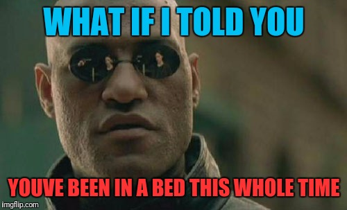 Matrix Morpheus Meme | WHAT IF I TOLD YOU YOUVE BEEN IN A BED THIS WHOLE TIME | image tagged in memes,matrix morpheus | made w/ Imgflip meme maker