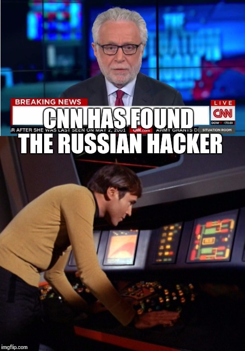The Wolfman nails it | CNN HAS FOUND THE RUSSIAN HACKER | image tagged in cnn,cnn fake news,cnn sucks,cnn wolf of fake news fanfiction,russian hackers | made w/ Imgflip meme maker