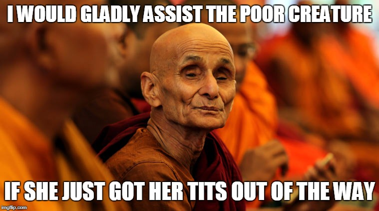 I WOULD GLADLY ASSIST THE POOR CREATURE IF SHE JUST GOT HER TITS OUT OF THE WAY | made w/ Imgflip meme maker