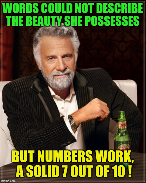 To the best of your recollection  | WORDS COULD NOT DESCRIBE THE BEAUTY SHE POSSESSES BUT NUMBERS WORK, A SOLID 7 OUT OF 10 ! | image tagged in memes,the most interesting man in the world,funny | made w/ Imgflip meme maker