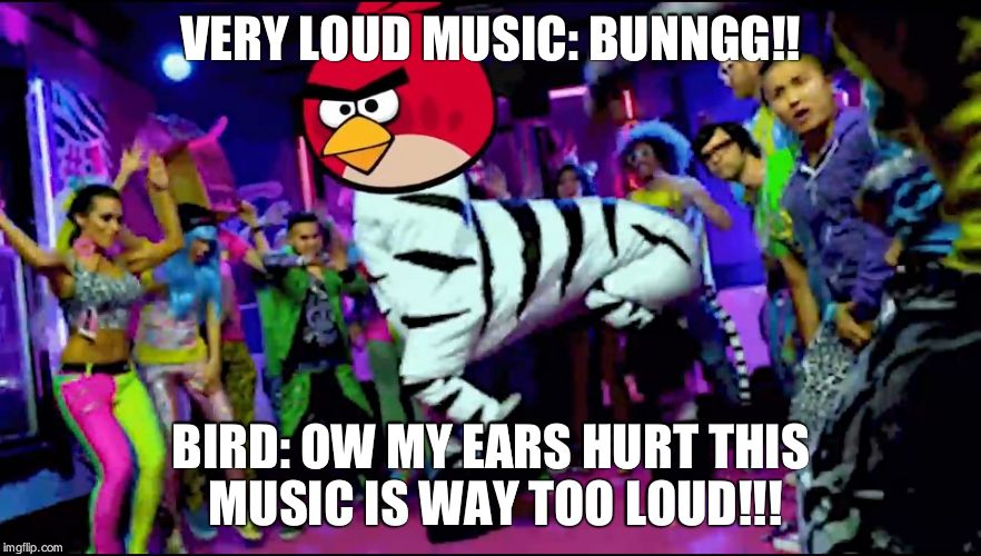 VERY LOUD MUSIC: BUNNGG!! BIRD: OW MY EARS HURT THIS MUSIC IS WAY TOO LOUD!!! | image tagged in party bird | made w/ Imgflip meme maker