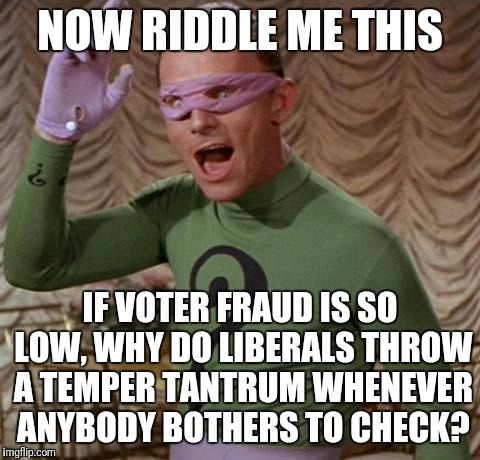 Riddler | NOW RIDDLE ME THIS IF VOTER FRAUD IS SO LOW, WHY DO LIBERALS THROW A TEMPER TANTRUM WHENEVER ANYBODY BOTHERS TO CHECK? | image tagged in riddler | made w/ Imgflip meme maker